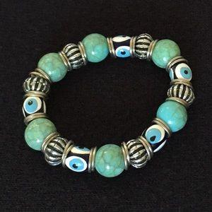 Jewelry - Turquoise 'Evil Eye' Hand Painted Bracelet